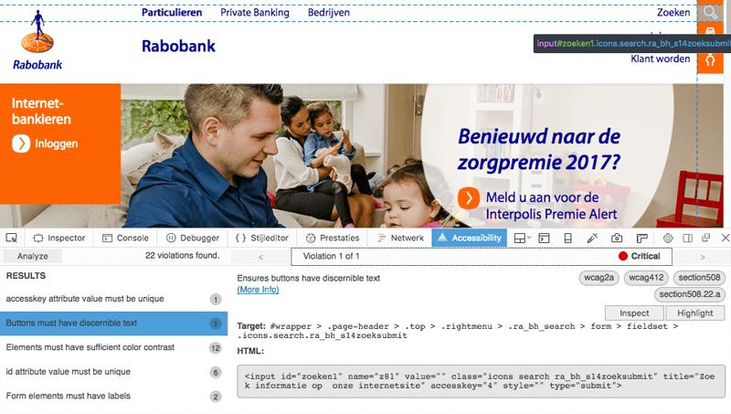 Screenshot Axe-inspector op de Rabobank website
