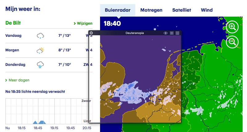 Screenshot van de Buienradar door de Itunes App kleurenblindsimulator.