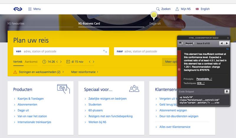 screenshot HTML-Codesniffer tool op ns.nl