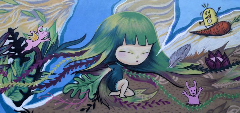 vrolijke kleurrijke streetart met bloemen en konijntjes