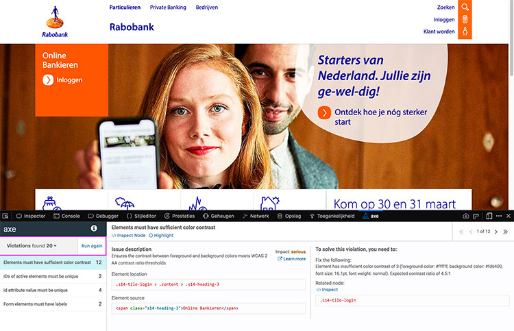 screenshot axe-results op rabobank homepage
